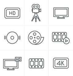 Line Icons Style Movie icons set vector image