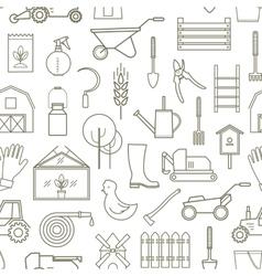 Line pattern farmer gardening tools vector