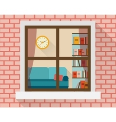 Living room through the window vector image