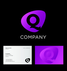logo q monogram identity violet shape vector image