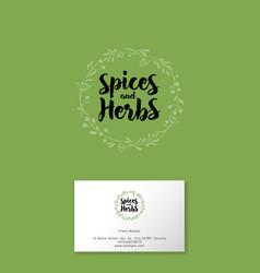 logo spice herbs vector image