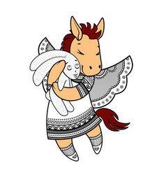 Lovely horse with wings in beautiful clothes with vector