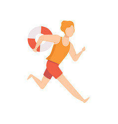 Male lifeguard character running with lifebuoy vector