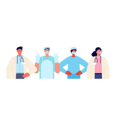 Medical team together healthcare workers doctor vector