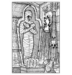 Mummy engraved fantasy vector