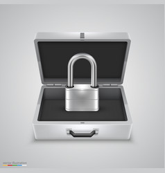 Outdoor metal briefcase padlock vector