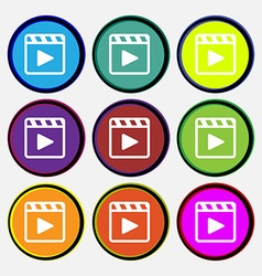 Play video icon sign Nine multi-colored round vector