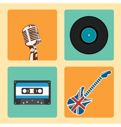 Retro Music Icons Set vector image