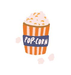 retro-styled popcorn bucket full pop-corn paper vector image
