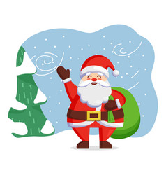 Santa claus stand in winter forest christmas time vector
