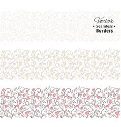 Seamless love borders wedding floral pattern vector