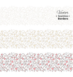 Seamless love borders wedding floral pattern with vector