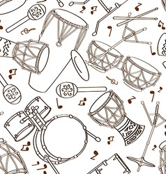 Seamless pattern of drum set vector