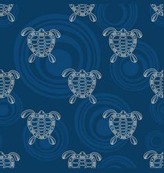 Seamless pattern turtles silhouette australian vector