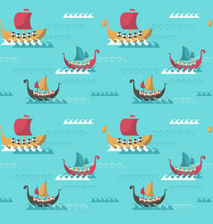 seamless pattern with viking age longships vector image