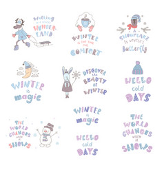 Set cute animals and winter quotes nursery art vector