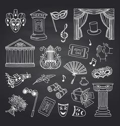 set doodle theatre elements on black vector image
