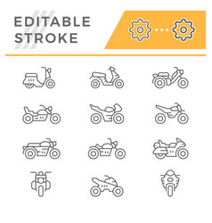 set line icons of motorcycles vector image