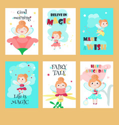 Set of cards with cute little fairies vector