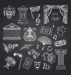 set of doodle theatre elements on black vector image