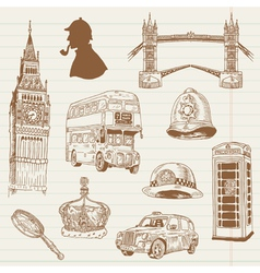 Set of London doodles vector image