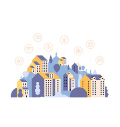 smart city country landscape with houses and vector image