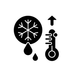 Snow melting black glyph icon vector