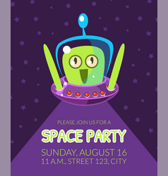space party banner template with cute alien vector image