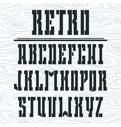 Stencil plate bold serif font vector image