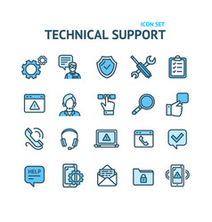 technical support signs color thin line icon set vector image