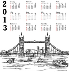 tower bridge 2013 calendar vector image vector image