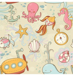 Underwater creatures seamless pattern vector