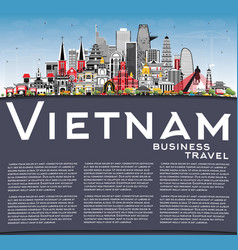 Vietnam city skyline with gray buildings blue sky vector