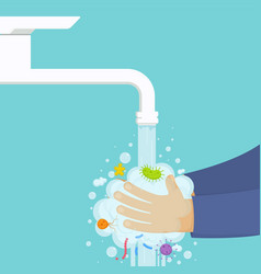washing hands under the faucet with soap hygiene vector image