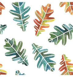 Watercolor oak leaves seamless pattern vector image vector image