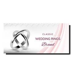 Wedding rings sale creative promo poster vector