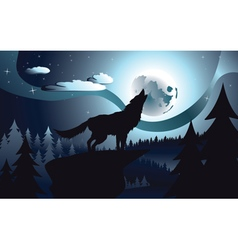Wolf Howling in the Night Forest4 vector