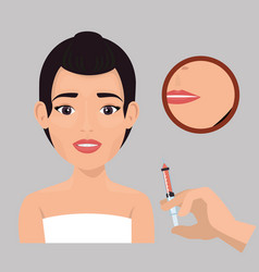 Woman with botox treatment vector