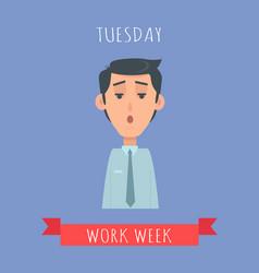 Work week emotive concept in flat design vector