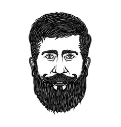 bearded man head isolated on white background vector image