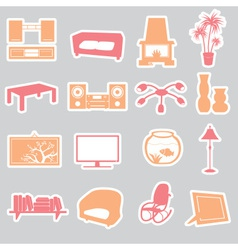 living room stickers set eps10 vector image