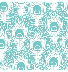 Soft peacock feathers seamless pattern background vector image