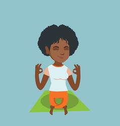 african-american woman meditating in lotus pose vector image vector image