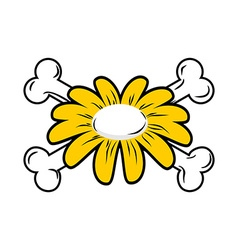 Flower and bone Daisy and crossbones Symbol flower vector image vector image