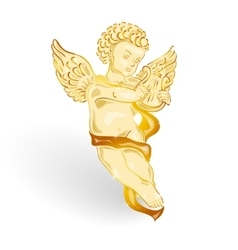 Golden angel with music lyre vector image