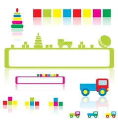 Baby toys and frames vector image