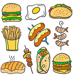 doodle of food delicious collection vector image