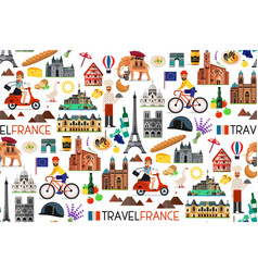 France landmarks and travel map vector