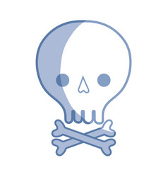 silhouette skull with bones to danger and warning vector image vector image