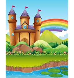 Castle towers by the pond vector image vector image